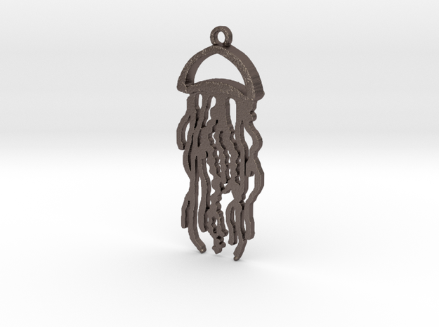 Jellyfish Charm in Polished Bronzed Silver Steel
