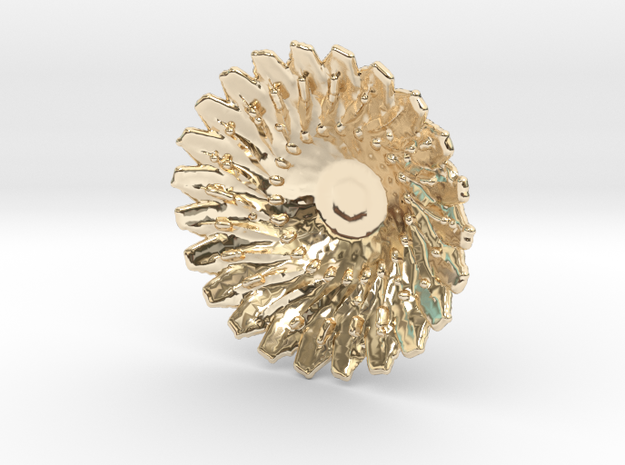 Sunflower Pendant with Baille in 14k Gold Plated Brass