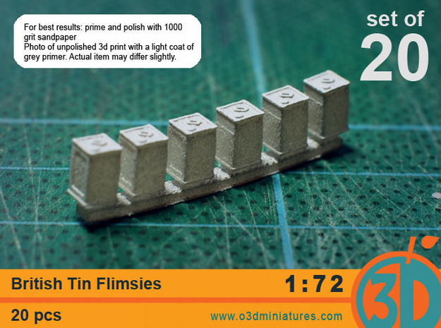 British Tin Flimsies 1/72 scale pack of 20 in Smooth Fine Detail Plastic