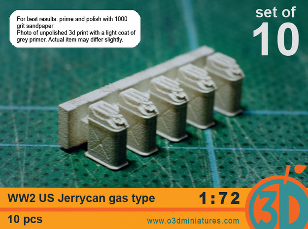 WW2 US gas Jerricans 1/72 scale pack of 10 3d printed