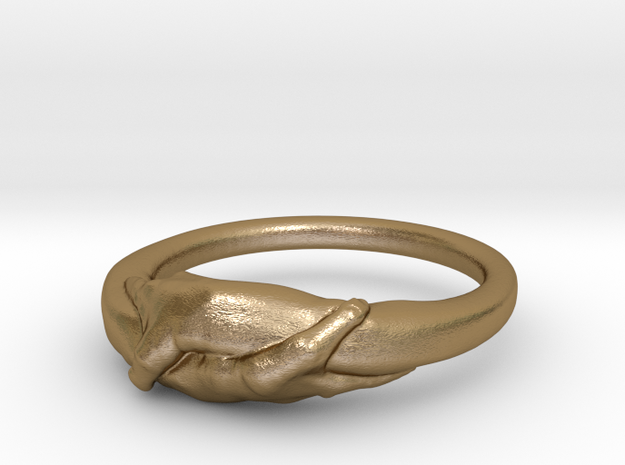 Rome Handshake Ring Size(US)-11 (20.68 MM) in Polished Gold Steel