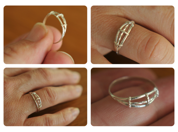 Torsades - A Triple Twisted Ring in Natural Silver