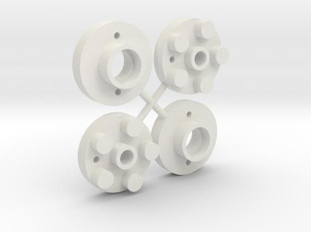 Wheel adapters- Mini Mag to Tamiya Buggy in White Natural Versatile Plastic