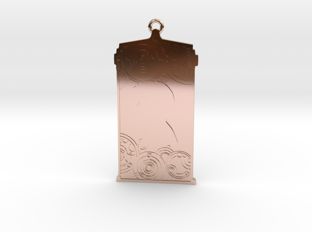 TARDIS Pendant with Ten in 14k Rose Gold Plated Brass