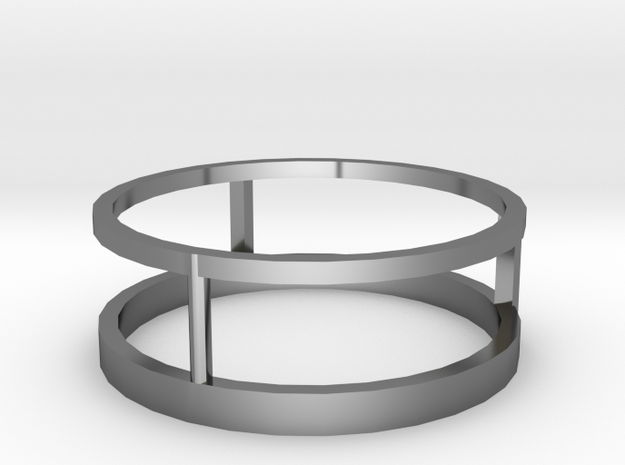 Three way ring 19mm in Fine Detail Polished Silver