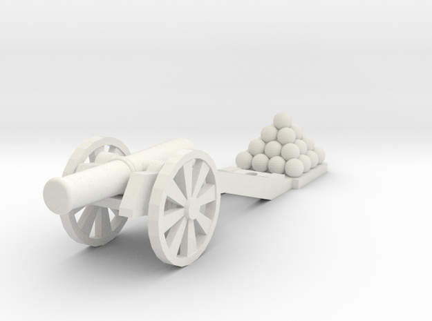 Cannon (Heavy) -  HO 1:87 scale in White Natural Versatile Plastic