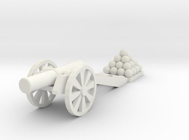 Cannon (Heavy) -  HO 1:87 scale in White Natural Versatile Plastic