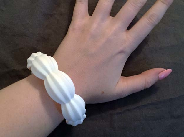 Chunky Icing Bangle in White Processed Versatile Plastic