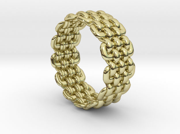 Wicker Pattern Ring Size 11 in 18k Gold Plated Brass