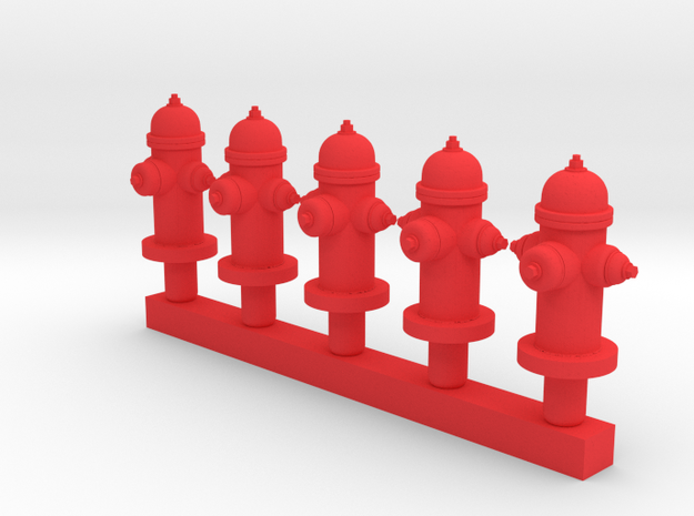 Fire Hydrant - Qty (5) HO 1:87 scale in Red Processed Versatile Plastic