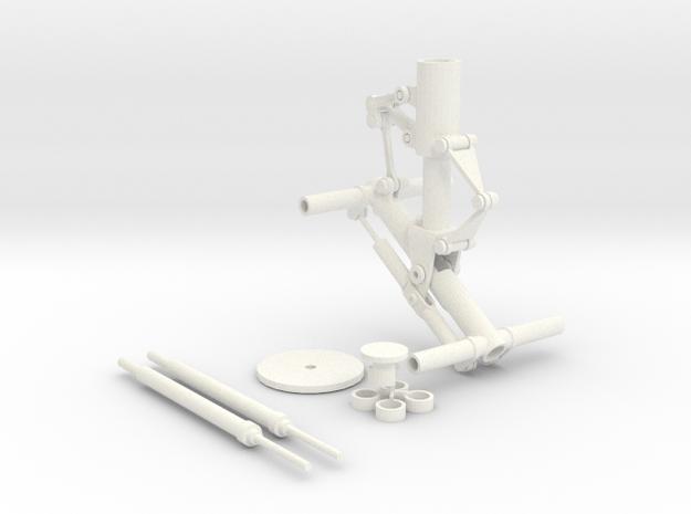 Flugzeugfahrwerk mit Federmechanik in White Processed Versatile Plastic