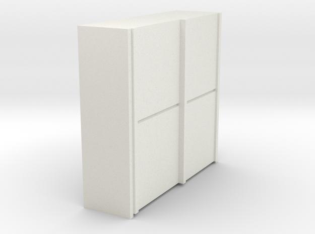A 010 sliding closet Schiebeschrank 1:87 in White Natural Versatile Plastic