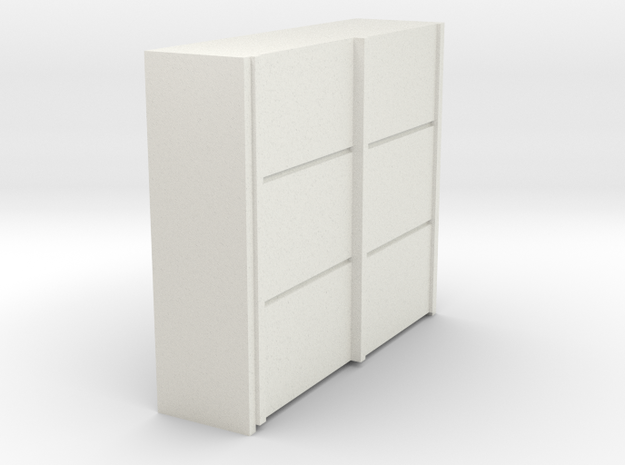 A 016 sliding closet Schiebeschrank 1:87 in White Natural Versatile Plastic