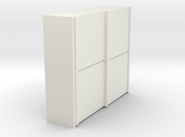 A 017 sliding closet Schiebeschrank 1:87 in White Natural Versatile Plastic