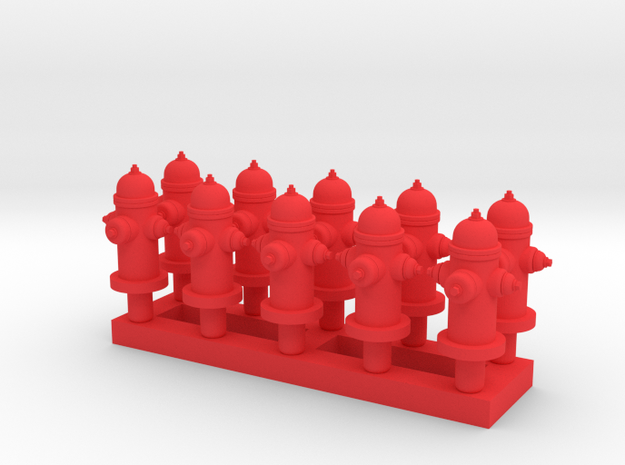 Fire Hydrant - Qty (10) HO 1:87 scale in Red Strong & Flexible Polished