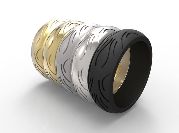 Motorcycle Low Profile Tire Tread Ring Size 9 in Black Natural Versatile Plastic