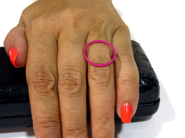 Circle ring shape. in Pink Strong & Flexible Polished