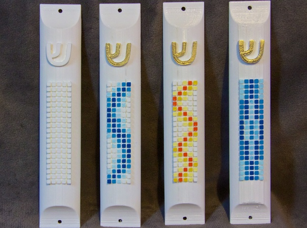 Mezuzah Case with Squares 3d printed