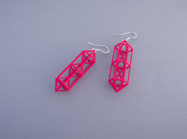 Space Earrings #01 in White Processed Versatile Plastic
