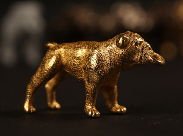 Bulldog Keychain 3d printed Gold Plated Glossy