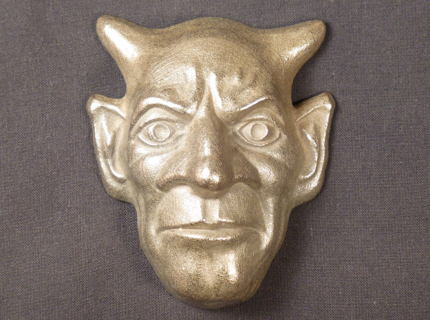 hanging mask  in Polished Bronzed Silver Steel