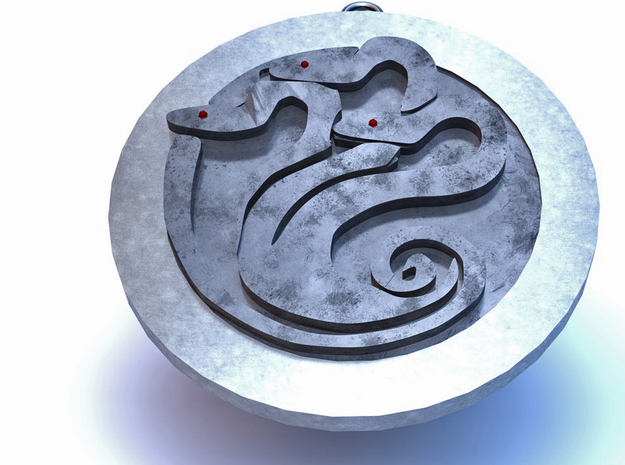 Hydra medallion by Martinus in Polished Silver