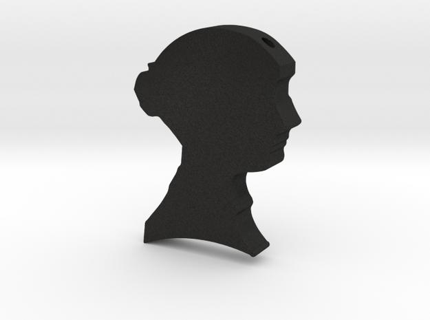 Jane Austen Cameo Pendant Necklace in Black Acrylic