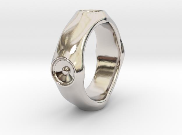 Dizzy Lizzy - US 9 - 19 mm inside diameter Ring in Rhodium Plated Brass: 9 / 59