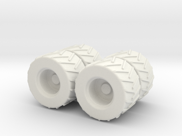 1:87 4x Skidder Set in White Natural Versatile Plastic