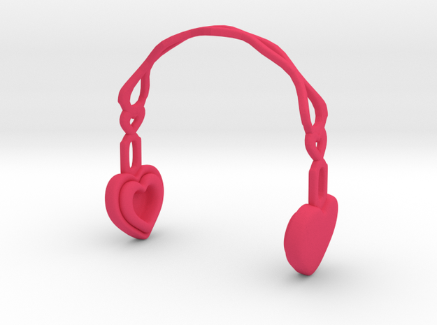 Headphones Heart Version: BJD Doll MSD fourth size in Pink Processed Versatile Plastic