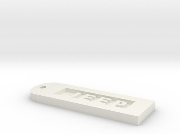 Jeep Keychain in White Natural Versatile Plastic