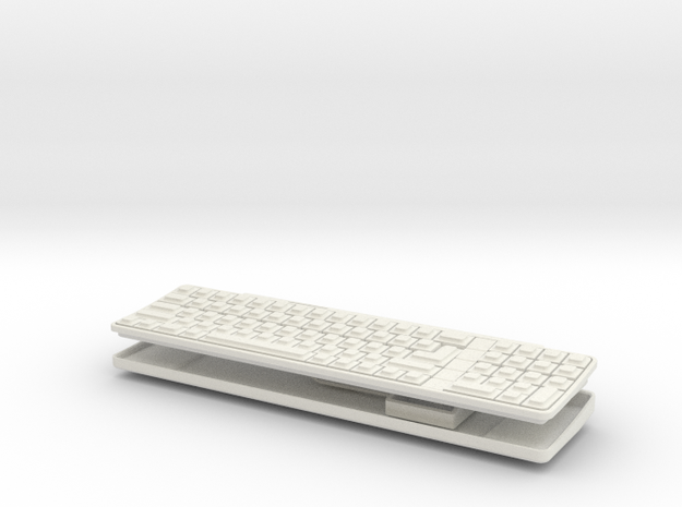 Apple IIgs - 1:3 Scale Keyboard And Mouse in White Natural Versatile Plastic