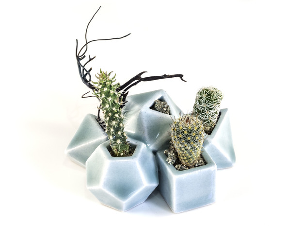 Polyhedral Dice Planter in Gloss Celadon Green Porcelain