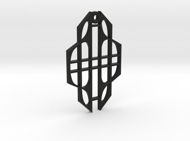 Art Deco Pendant in Black Natural Versatile Plastic
