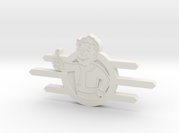 Fallout Vault-Tec badge with Fallout boy in White Natural Versatile Plastic