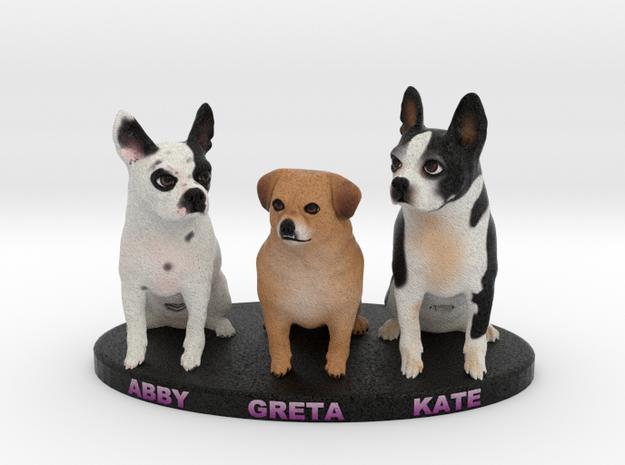 Custom Dog Figurine - Greta Abby Kate in Full Color Sandstone