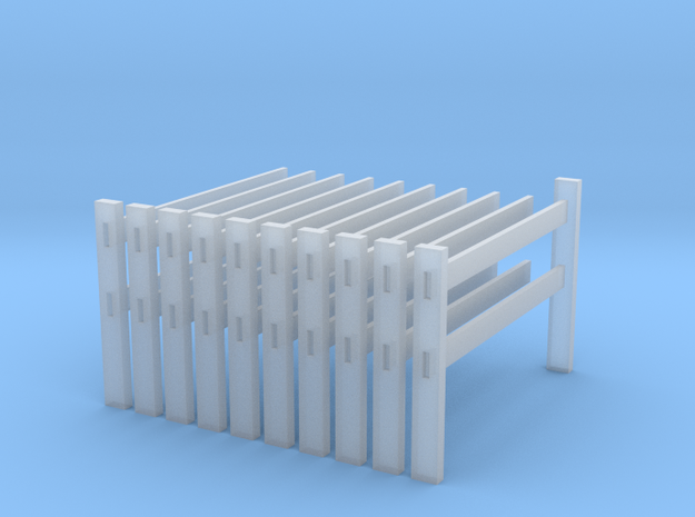 Post and rail fence kit N scale 10 piece in Smooth Fine Detail Plastic