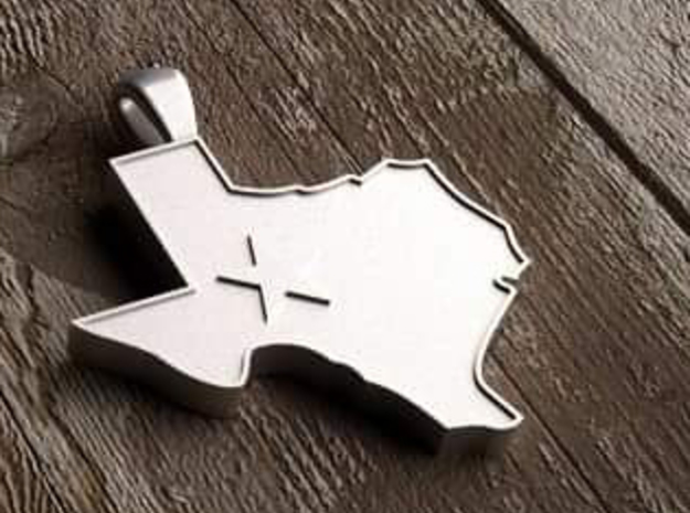 Pendant State of Texas with Star in Polished Silver