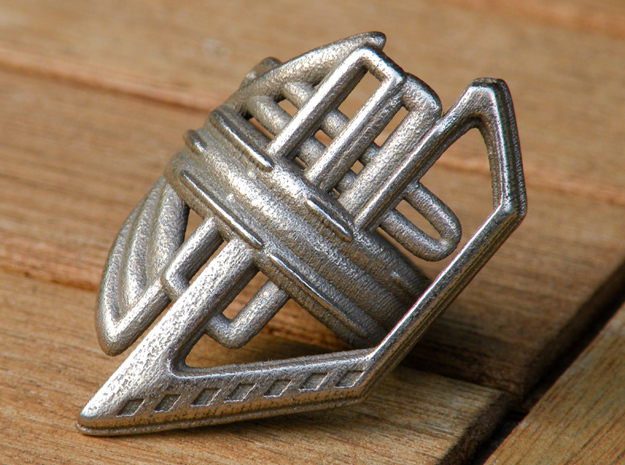 Balem's Ring2 - US-Size 3 1/2 (14.45 mm) in Polished Bronzed Silver Steel