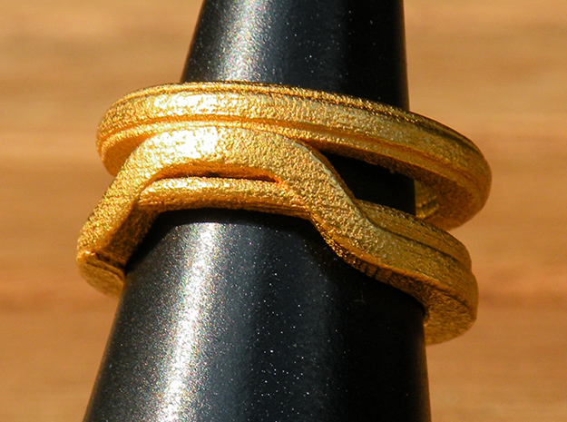 Balem's Ring1 - US-Size 4 (14.86 mm) in Polished Gold Steel