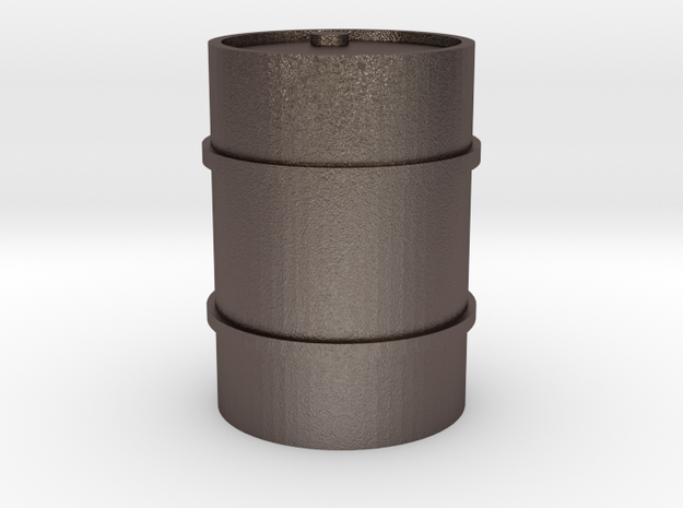 44 Gallon drum - solid in Polished Bronzed Silver Steel