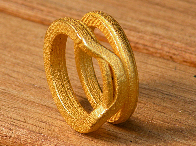 Balem's Ring1 - US-Size 5 1/2 (16.10 mm) in Polished Gold Steel
