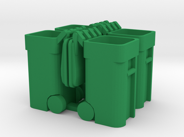 Trash Cart (4) Open - 'O' 48:1 Scale in Green Processed Versatile Plastic