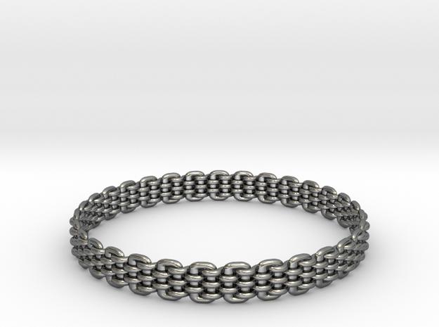 Wicker Pattern Bracelet Size 14 in Premium Silver