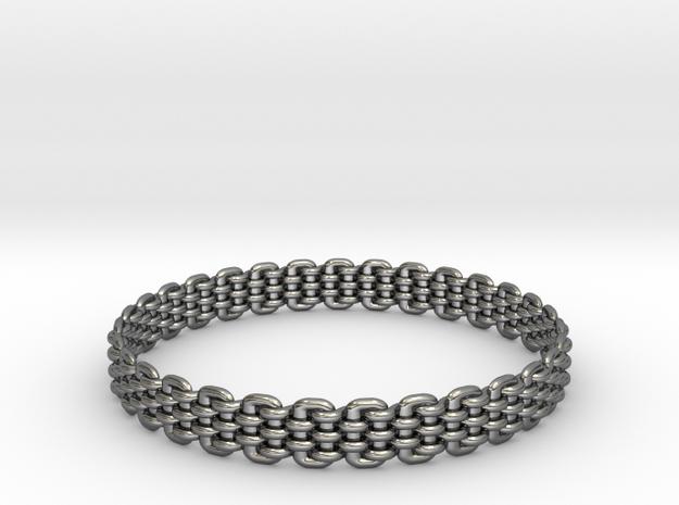 Wicker Pattern Bracelet Size 11 in Premium Silver
