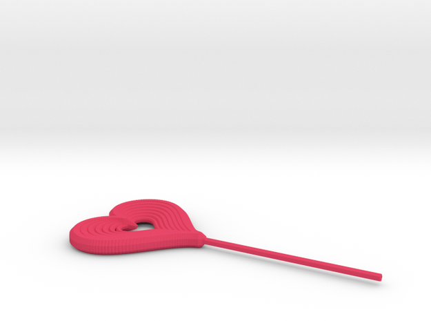 Heart Stick Pin Post in Pink Processed Versatile Plastic