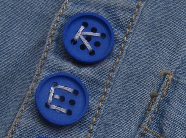 """5/8"""" alphabet buttons (two) in Blue Processed Versatile Plastic"""