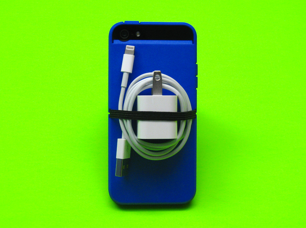 "Cariband case for iPhone 5/5s, ""holds stuff"" 3d printed You know how you wish you brought your charger? Cariband can help, in Royal Blue Strong & Flexible polished"