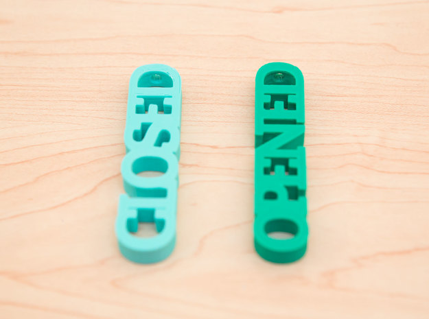 Typography Blind Pulls 3d printed