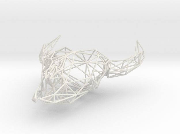 Low Poly Cow Skull in White Natural Versatile Plastic